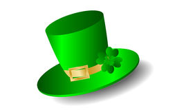 St. Patrick day. White background with green hat and cloverleaf Royalty Free Stock Image