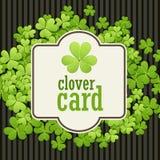 St Patrick de achtergrond van de Dag Vectorillustratie voor gelukkig de lenteontwerp met klaver Groen klavergrens en vierkant Stock Afbeelding