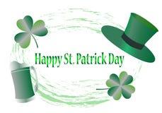 St Patrick de kaart van de Daggroet met gelukkige brieven, illustratie - vector stock illustratie
