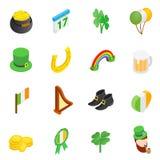 St Patrick dnia isometric 3d ikony Obrazy Royalty Free
