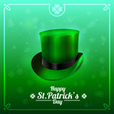 St Patrick dnia kartka z pozdrowieniami z leprechaun kapeluszem na zielonym tle również zwrócić corel ilustracji wektora Fotografia Stock