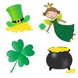 St. Patrick geplaatste pictogrammen. Stock Afbeeldingen