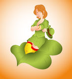 St. Patrick Girl on Leaf Royalty Free Stock Photos