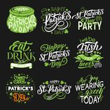 St Patrick green symbol for irish holiday design. Saint Patrick Day party green symbol set. Irish holiday greeting lettering with beer cup, leprechaun hat and royalty free illustration