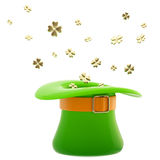 St. Patrick hat with clover leaves Royalty Free Stock Images