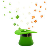 St. Patrick hat with clover leaves Stock Photography