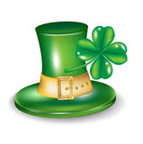 St patrick hat with four leaf clover. Isolated vector illustration