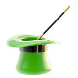 St. Patrick hat with magic wand inside Stock Photos