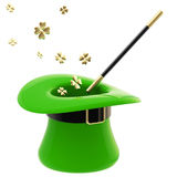 St. Patrick hat with magic wand inside Royalty Free Stock Photos