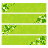 St. Patrick headers. St. Patrick's Day header collection with clover foliage Royalty Free Stock Photography