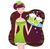 St. Patrick het Ierse meisje van de Dag met groen bier vector illustratie