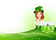 St. Patrick het meisjesachtergrond van de Dag Stock Afbeeldingen