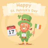 St. Patrick Holds Calendar and Flag Stock Photography