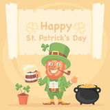St. Patrick Holds Mug of Beer and Coin Royalty Free Stock Photography