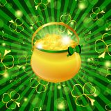 St.Patrick holiday. St.Patrick day theme: golden pot with money over green background with shamrocks Stock Images