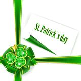 St.Patrick holiday bow with emerald shamrock Royalty Free Stock Photography