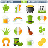 St. Patrick Icons - Robico Series. Collection of 16 colorful St. Patricks or Saint Patrick s Day icons, isolated on white background. Robico Series: check my vector illustration