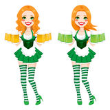 St Patrick Irish Girl Beer Fotografia Stock Libera da Diritti