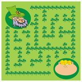 St Patrick labyrinth. Board game design Saint Patrick's Day. Help the leprechaun to find a way through the shamrocks maze at the meadow to a  pot of gold coins Stock Photography