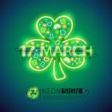 St Patrick 17 March Neon Signs. St Patricks Day 17 March glowing neon sign makes it quick and easy to customize your holiday projects. Each of object is named stock illustration