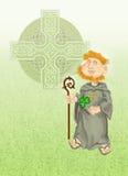 St Patrick met klaver en Keltisch kruis Stock Illustratie