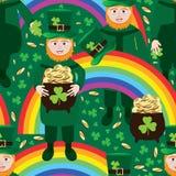 St Patrick nahtloses Muster Tagesdes regenbogens Stockfotos
