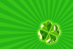 St. Patrick's background. With 3d shiny four leaf clover Royalty Free Stock Photography