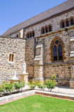 St. Patrick's Basilica: Limestone Brick Exterior with Statues Stock Photography