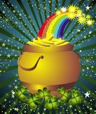 St.Patrick's card with pot,rainbow,clover Royalty Free Stock Images