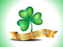 St. Patrick's Clover With Golden Ribbon Royalty Free Stock Images