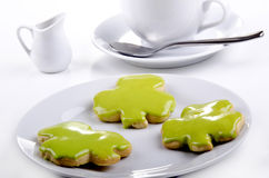 St Patrick's cookie with green icing Stock Photo