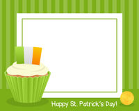 St. Patrick`s with Cupcake Horizontal Frame Stock Images
