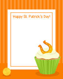 St. Patrick`s with Cupcake Vertical Frame Royalty Free Stock Images