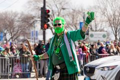 St Patrick ` s Dagparade Chicago 2018 stock foto