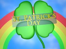 St. Patrick\\\'s Day. With four leaf clover.  Red, Orange, Yellow & Green Rainbow. Blue Sky with faint white clouds Royalty Free Stock Photo