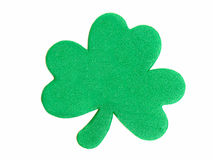 St Patrick's Day. A single, textured St Patrick's Day shamrock isolated on white Stock Image