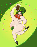 St patrick's day. Funny fat naked man celebrating st patrick's day Royalty Free Stock Photo