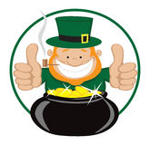 St Patrick's Day. Cartoon leprechaun with gold coin pot showing thumbs up. Vector eps8. Separate layers Stock Photo