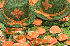 St Patrick's Day. Hat, confetti, pot of gold background stock image