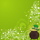 St. Patrick's Day Background. St. Patrick's Day floral frame with hat and cauldron Vector Illustration