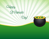 St. Patrick's day background. With pot and gold coins Stock Photography