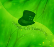 St.Patrick's day background. Green clover holiday background collage, st.Patrick's day decoration, leprechaun's hat royalty free stock images