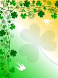 St. Patrick's Day Background. St. Patrick's Day background with shamrocks, four-leaf clovers, swallows and the colours of the Ireland flag. Useful also for vector illustration