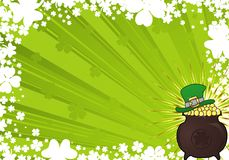 St. Patrick's Day Background. St. Patrick's Day frame with hat and cauldron Vector Illustration