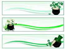 St.Patrick's day background. St.Patrick's day banners with cauldron and money Stock Illustration
