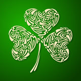St. Patrick's day background with clover in green. Vector illustration. Vintage template with ornamental leaf clover Royalty Free Stock Image