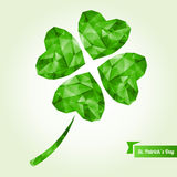 St. Patrick's day background with clover. Vector illustration. Abstract polygonal shapes. Low-poly colorful style. Lucky four leaf clover Royalty Free Stock Image