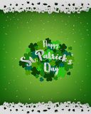 St.Patrick`s Day background,design element with lettering on green clover,paper cut out style,vector illustraton Royalty Free Stock Photo