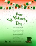 St.Patrick`s Day background,design with lettering,confetti and bunting in irish colors,for invitation,greeting card,poster or bann Stock Photography