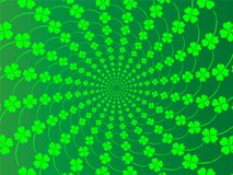 St. Patrick s day background with four-leaf clover. Green spring background with fresh leaves of clover to the day St Patrick vect. Or illustration Stock Photo
